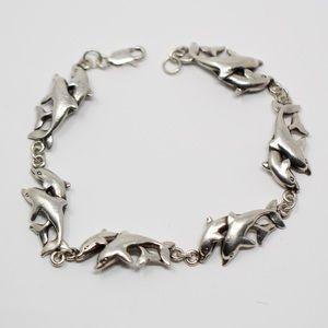 "VINTAGE PETER STONE Sterling Dolphin Bracelet 7"""